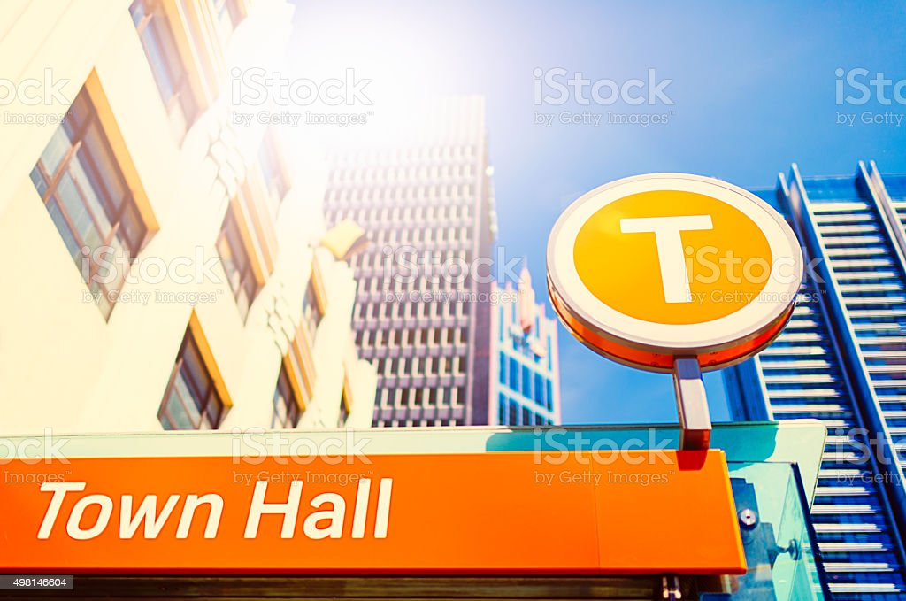 Entrance of city train station in Sydney stock photo