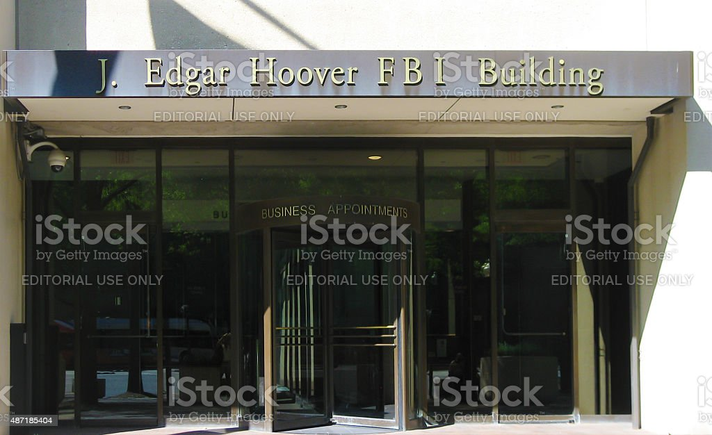 Entrance of FBI building in Washington DC stock photo