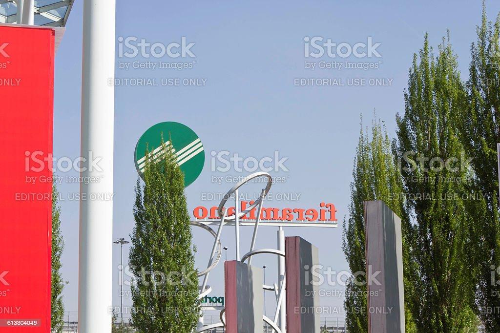 Entrance of Fieramilano Fair in Italy stock photo