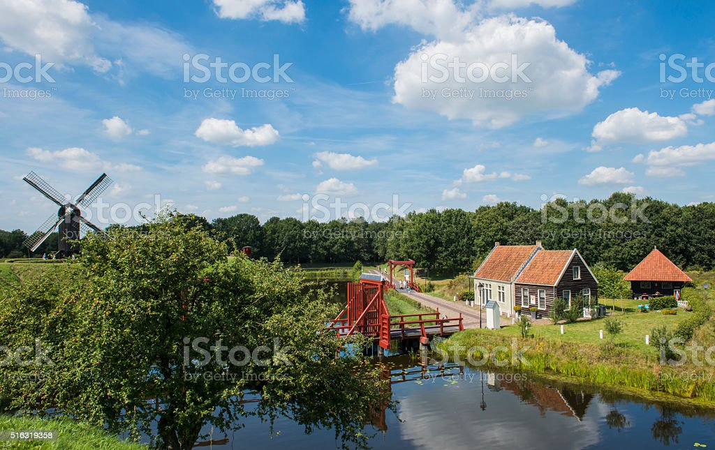Entrance of fortress Bourtange with Drawbridge stock photo