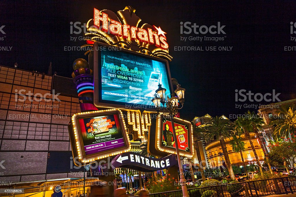 entrance of  Harrah`s casino and hotel in Las Vegas stock photo