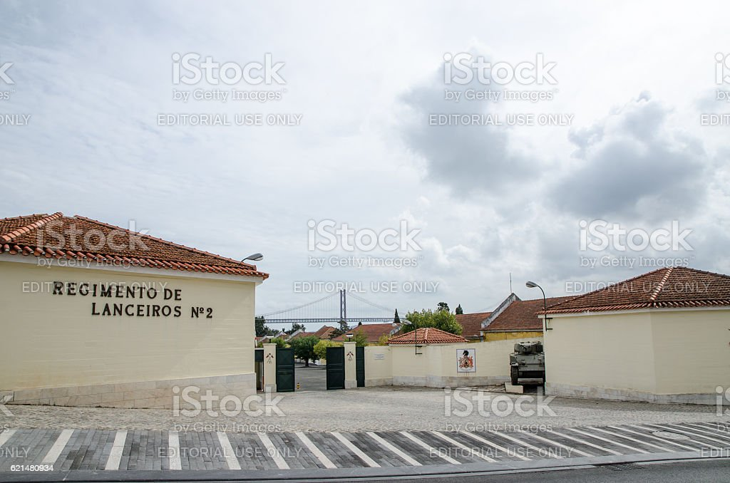 Entrance of Lisbon Army Regiment in Belem stock photo