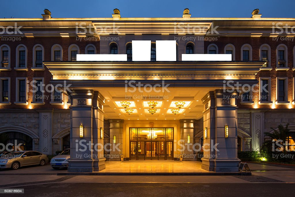 entrance of luxury hotel stock photo