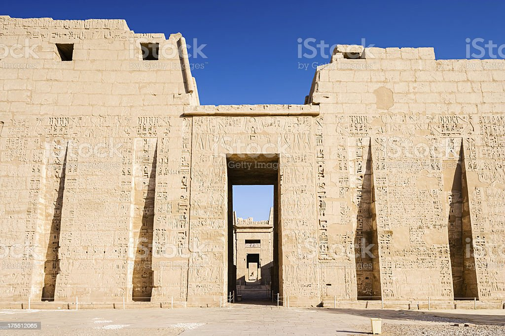 Entrance of Medinet Habu Temple, Egypt stock photo