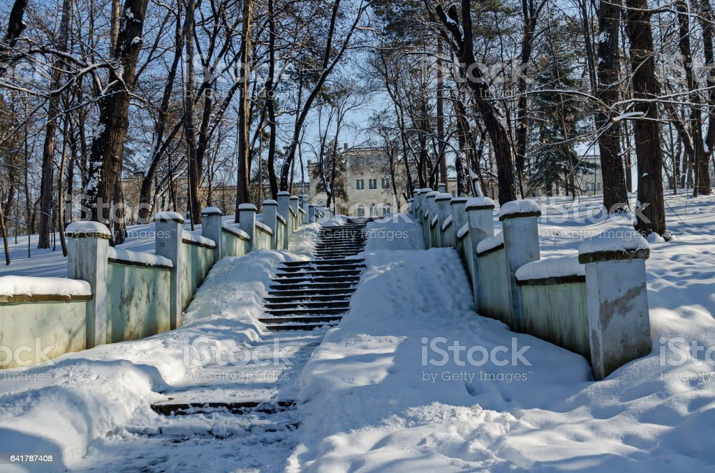 Entrance of Military academy in the winter, Sofia stock photo