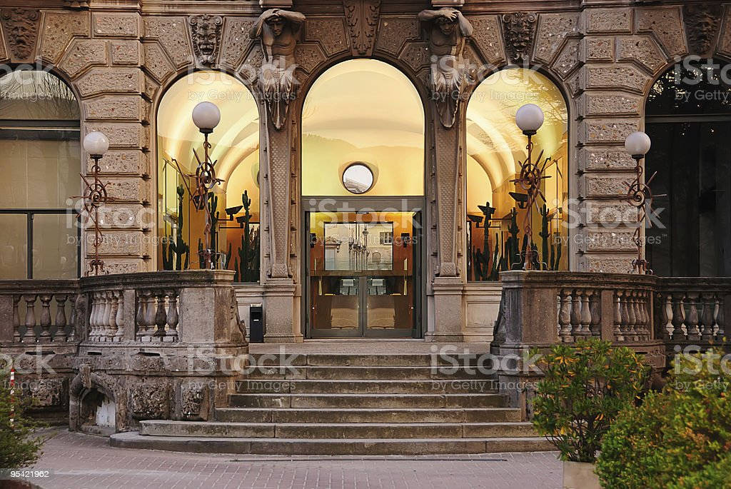 Entrance of old building stock photo
