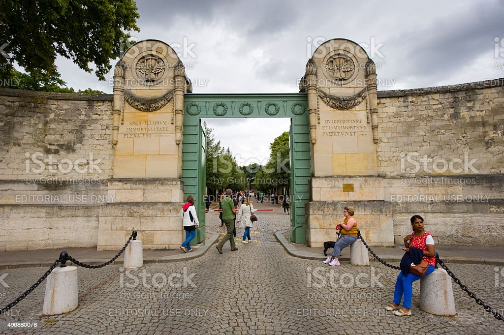 Entrance of Pere Lachaise stock photo