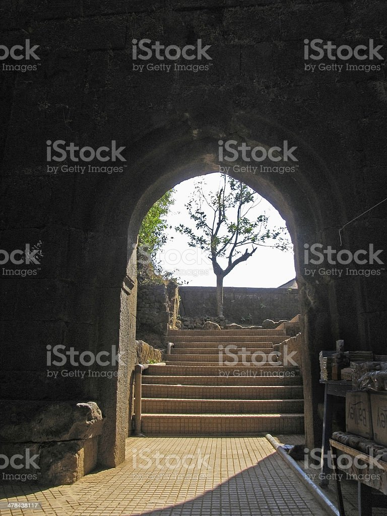 Entrance of Pratapgad Fort stock photo