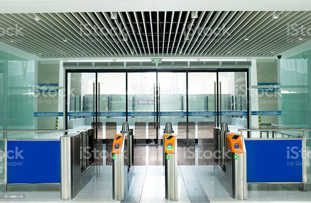 Entrance of railway station stock photo