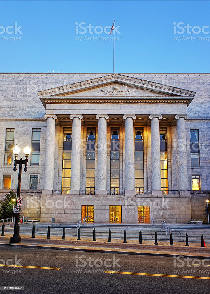 Entrance of Rayburn House Office Building in Washington DC stock photo