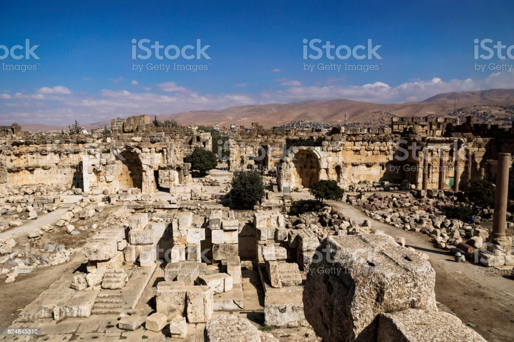 Entrance of ruins of Jupiter temple and great court of Heliopolis in Baalbek, Bekaa valley Lebanon stock photo