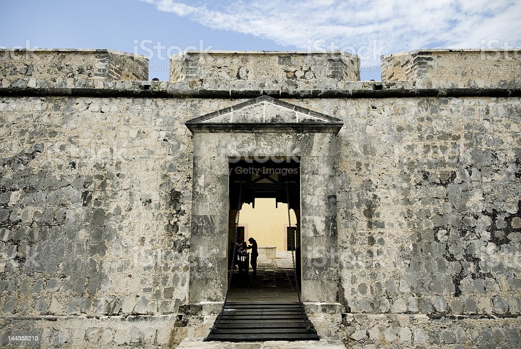 Entrance of saint miguel fort in campeche royalty-free stock photo