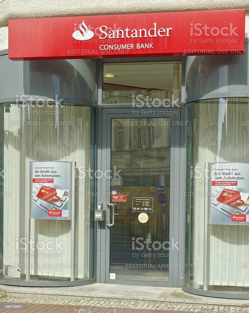 Entrance of Santander bank stock photo