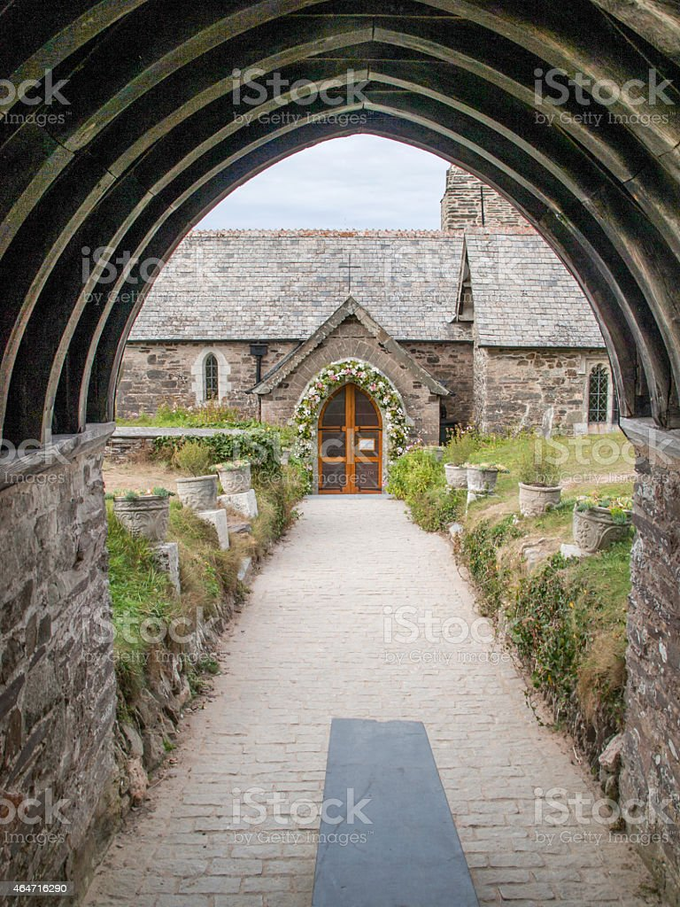 Entrance of St. Enodoc Church in Cornwall royalty-free stock photo