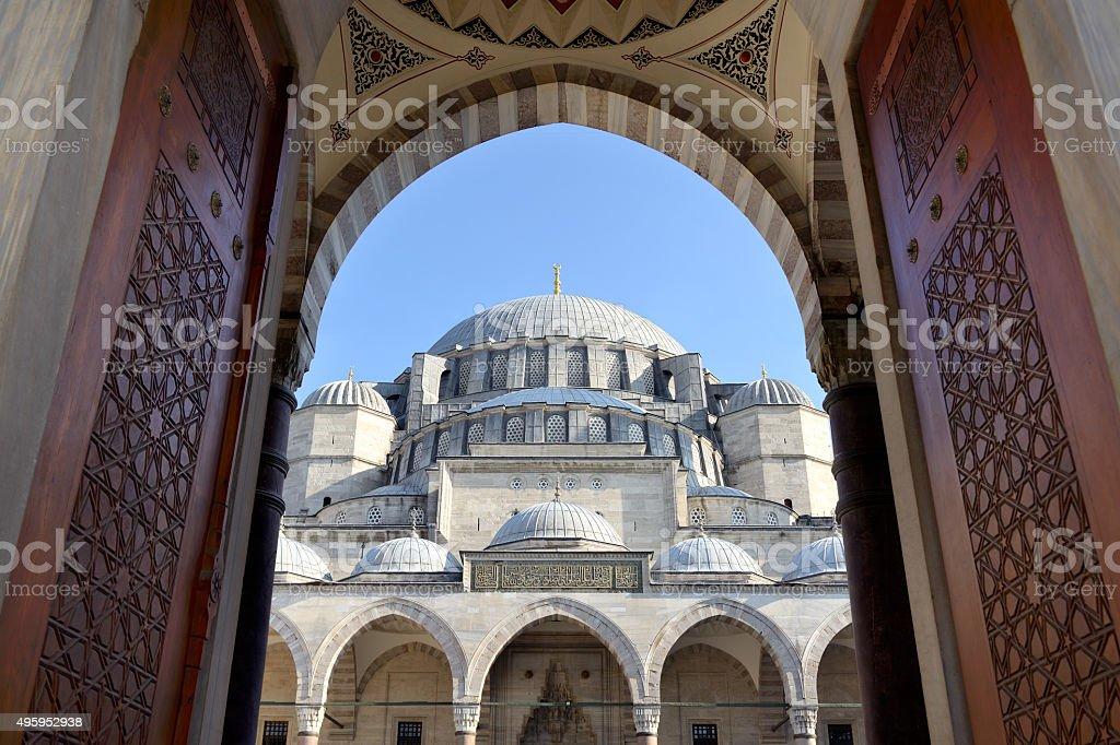 Entrance of Suleymaniye Mosque, Istanbul, Turkey. stock photo