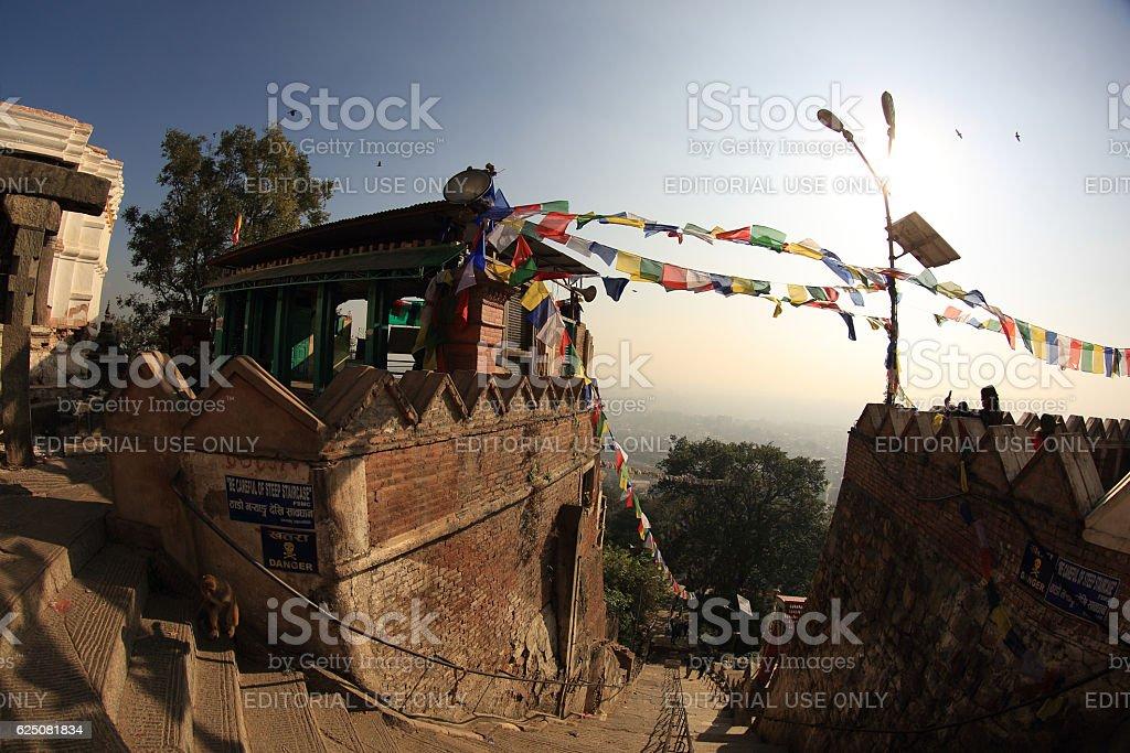 entrance of swayambhunath in the kathmandu nepal stock photo