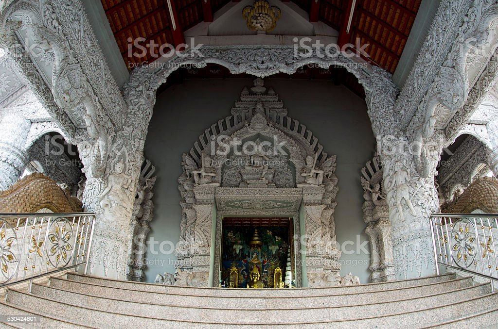 Entrance of temple in Thailand stock photo