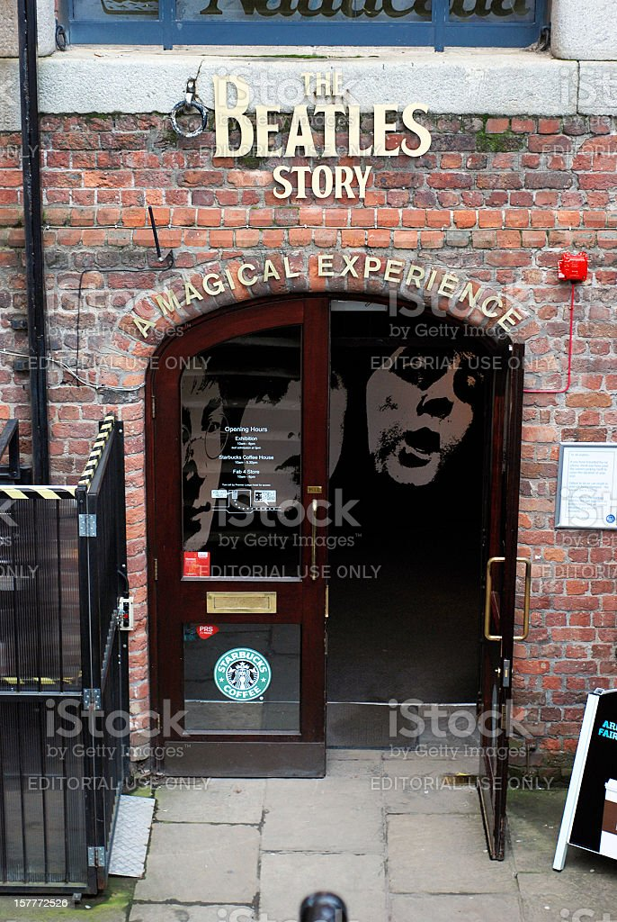 Entrance of The Beatles Story museum in Liverpool Albert Dock stock photo