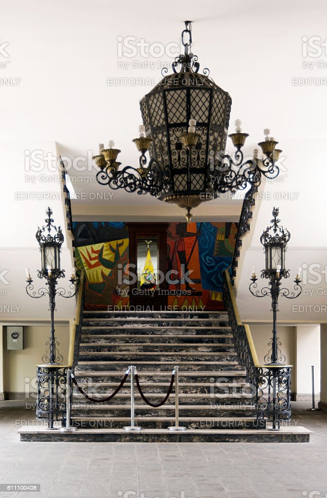 Entrance of the Carondelet Palace, Quito Ecuador stock photo