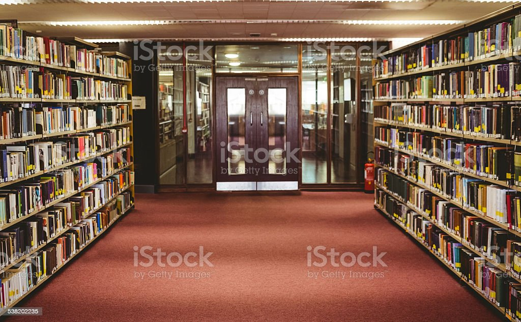 Entrance of the college library stock photo