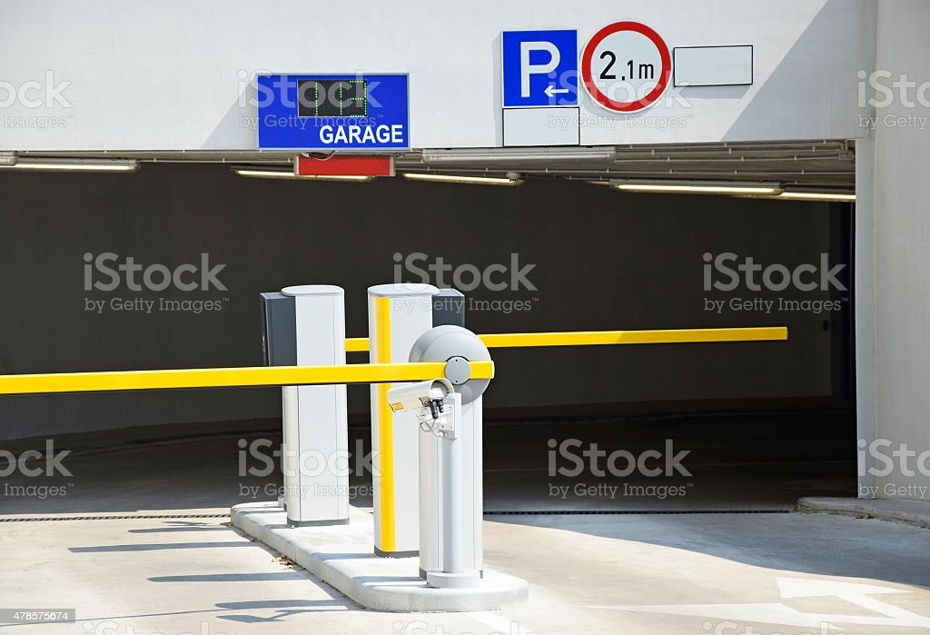 Entrance of the garage stock photo
