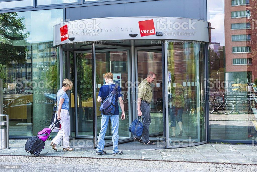 Entrance of the labor union Verdi in Berlin stock photo