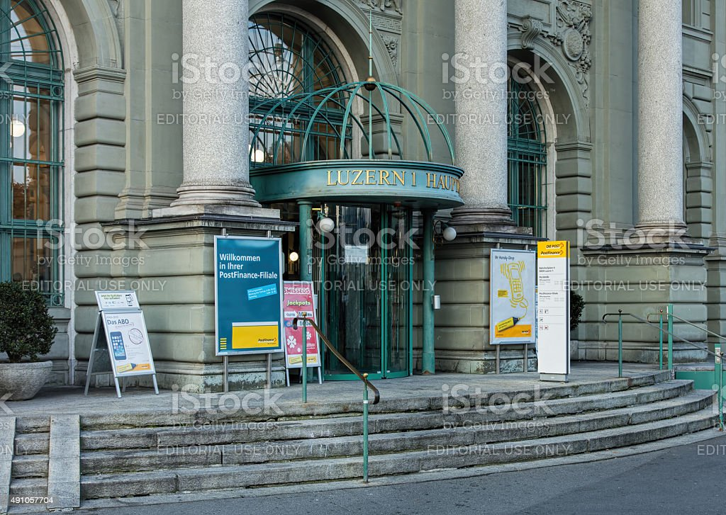 Entrance of the Lucerne Main Post Office stock photo