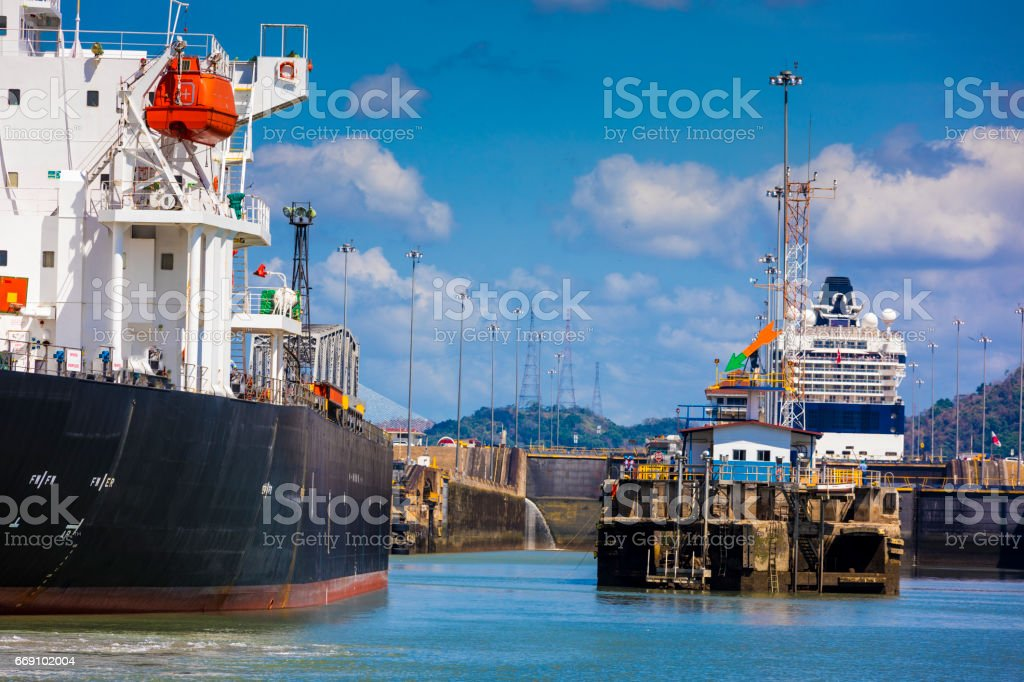 Entrance of the Panama Canal which allows nautical vessels to go from the Pacific to the Atlantic oceans or vice-versa within a numbers of hours, which can extend to days depending on traffic. stock photo