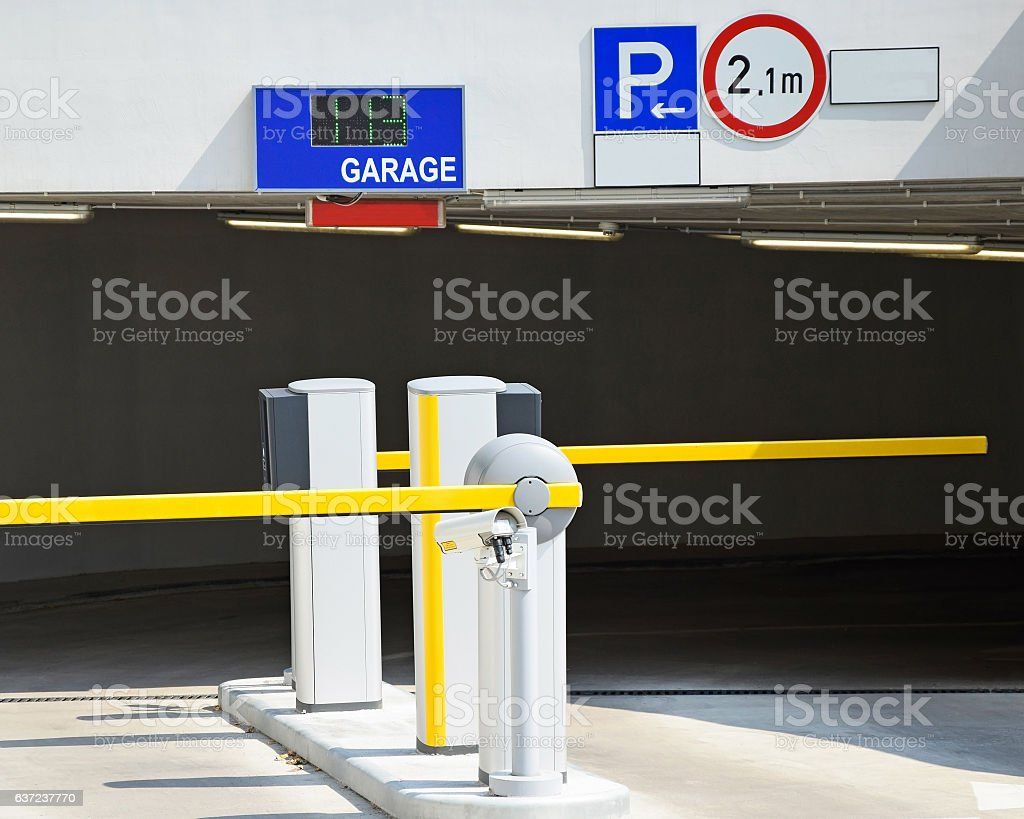 Entrance of the parking garage stock photo