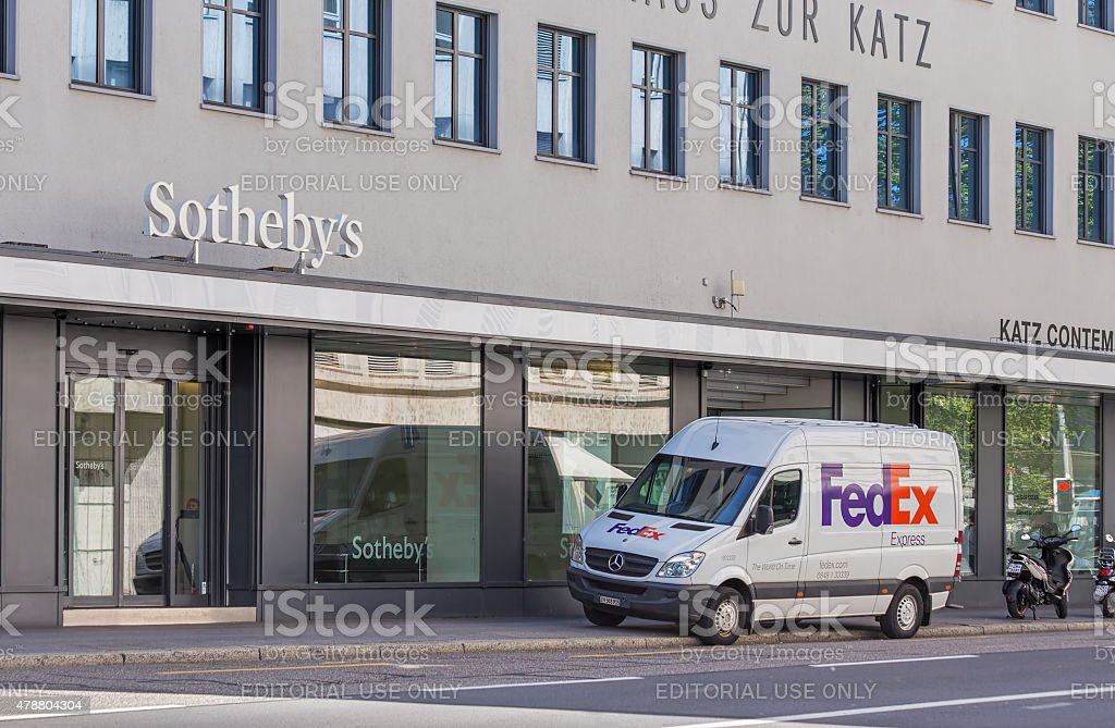 Entrance of the Sotheby's office in Zurich stock photo