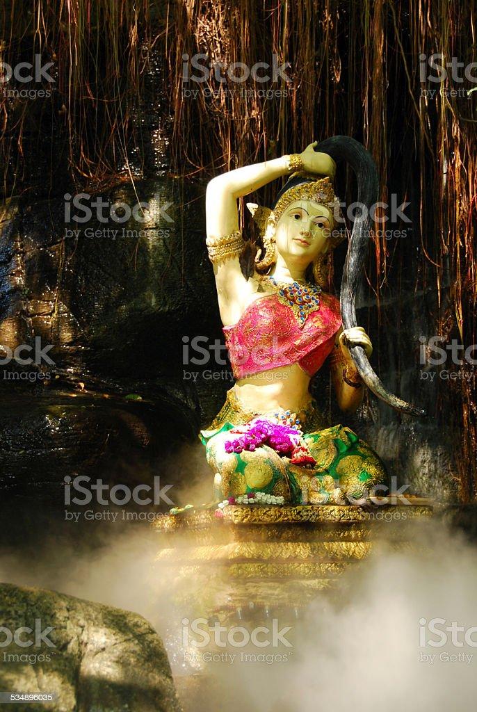 Entrance of the Wat Saket temple in Bangkok stock photo