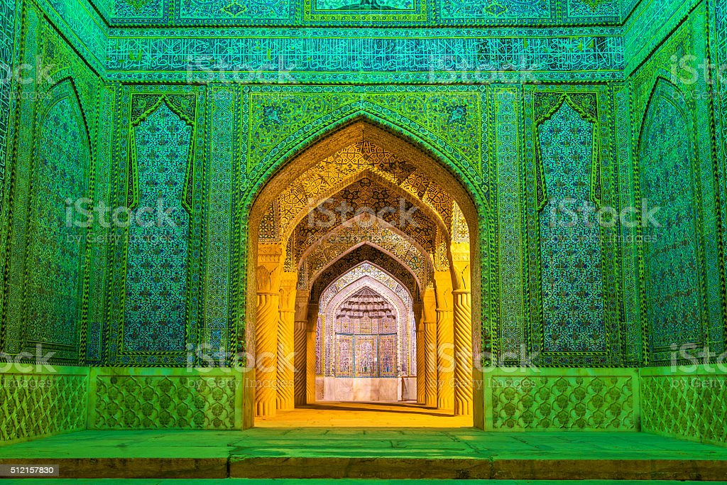 Entrance of Vakil Mosque in Shiraz, Iran stock photo