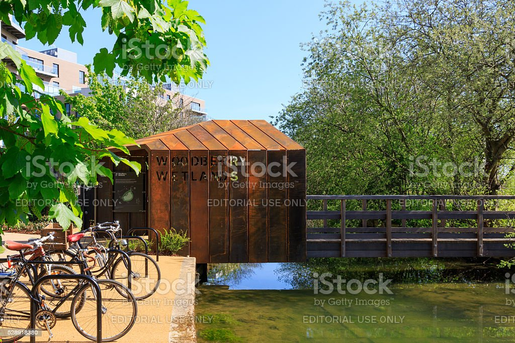 Entrance of Woodberry Wetlands in London stock photo