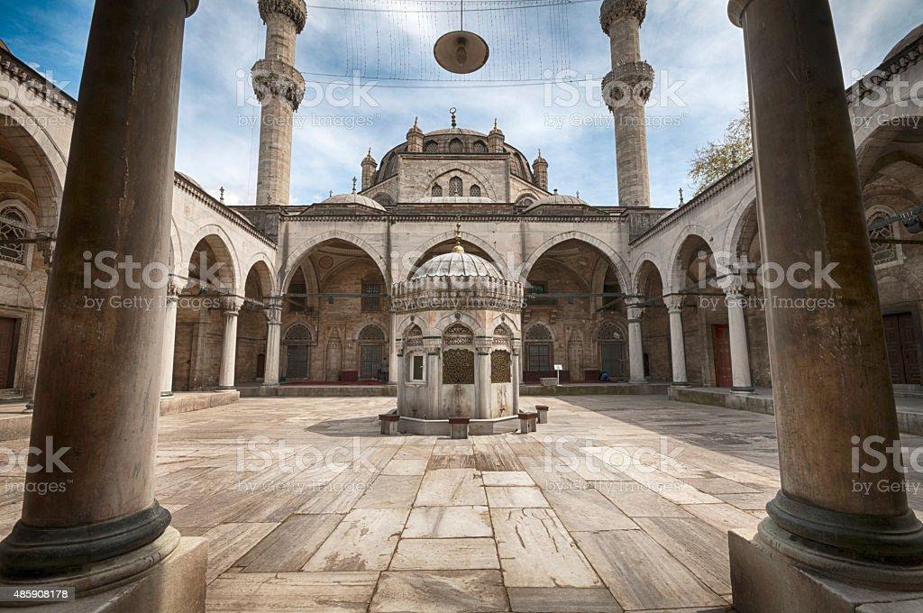 Entrance of Yeni Cami (New Mosque) in Eminonu, Istanbul, Turkey stock photo