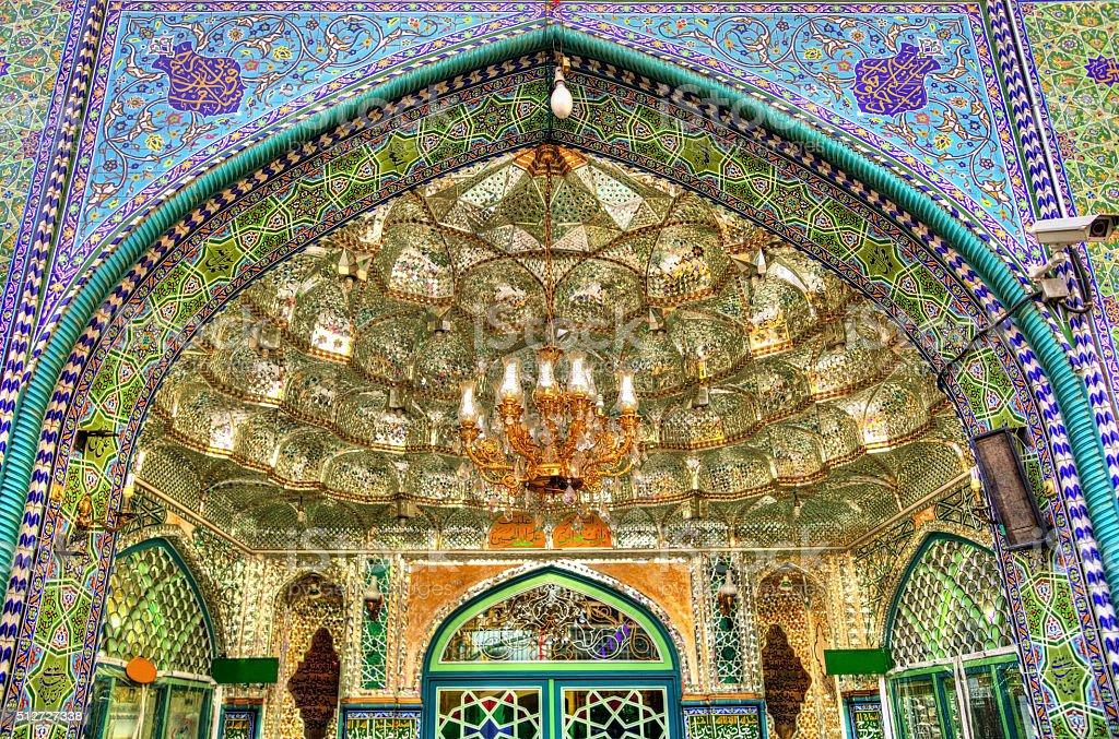 Entrance of Zaid Mosque in Tehran Grand Bazaar stock photo