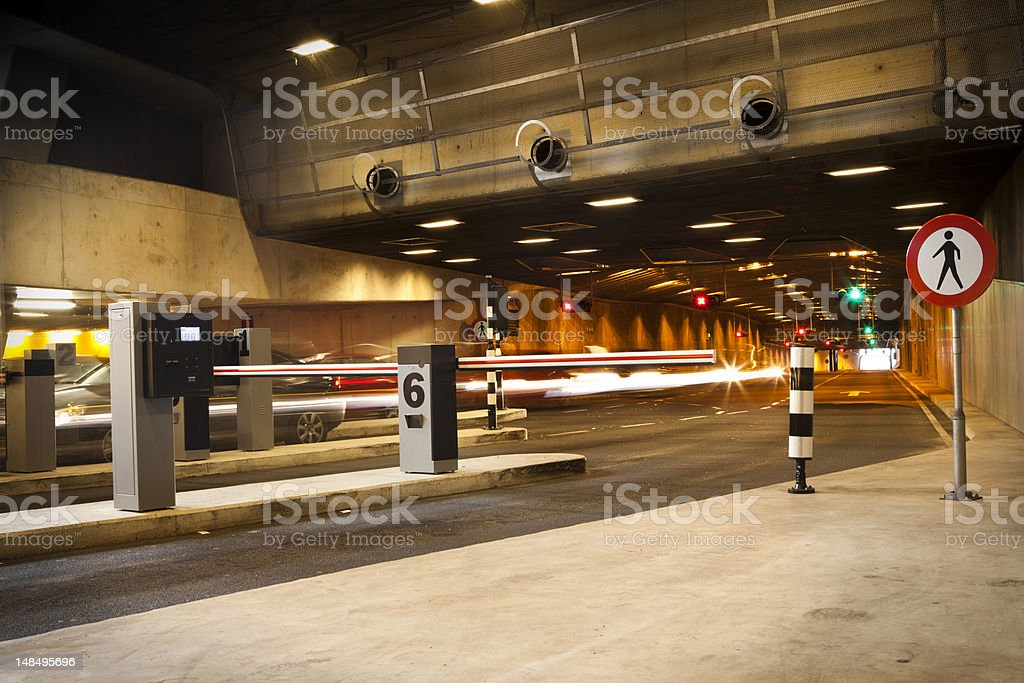 Entrance parking garage stock photo