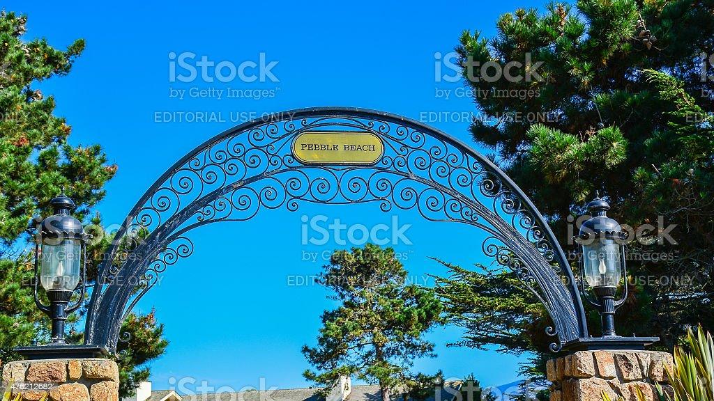 Entrance, Pebble Beach Golf Links stock photo