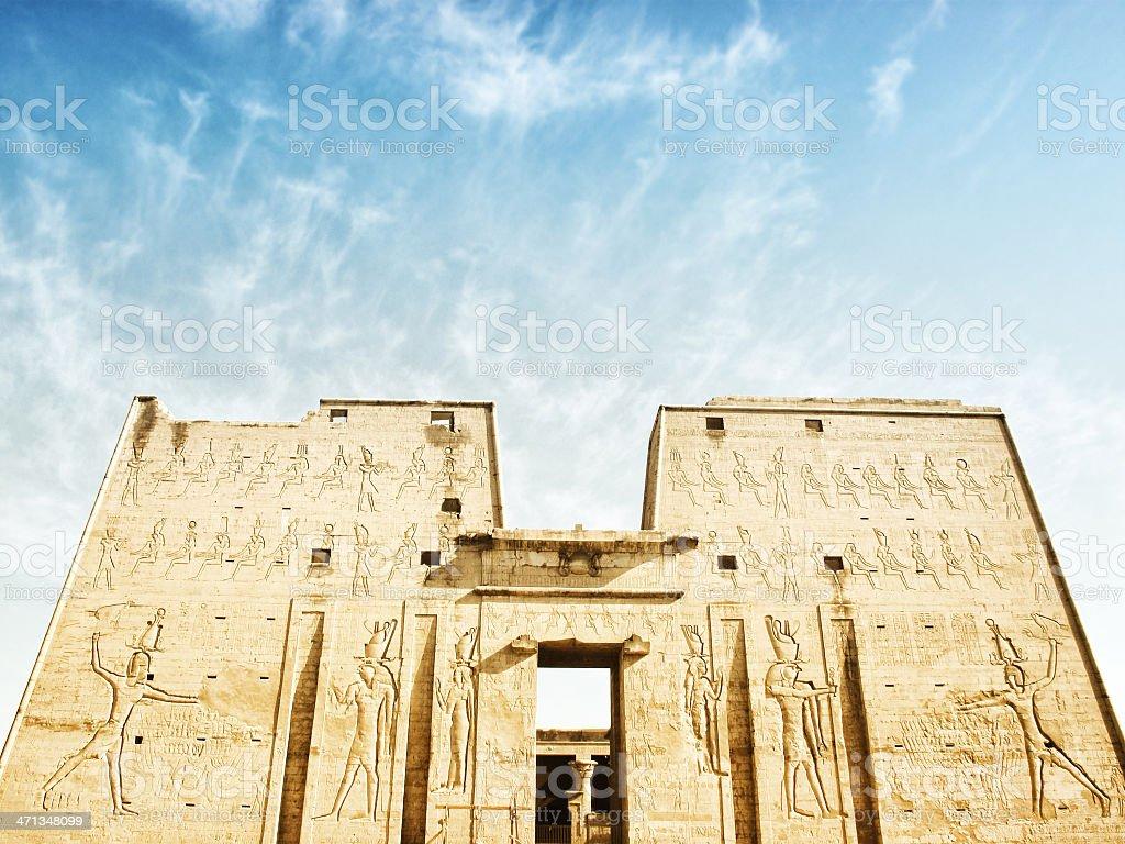 Entrance Pylon at Temple of Horus stock photo
