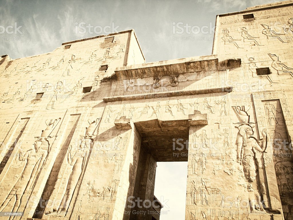 Entrance Pylon at Temple of Horus royalty-free stock photo