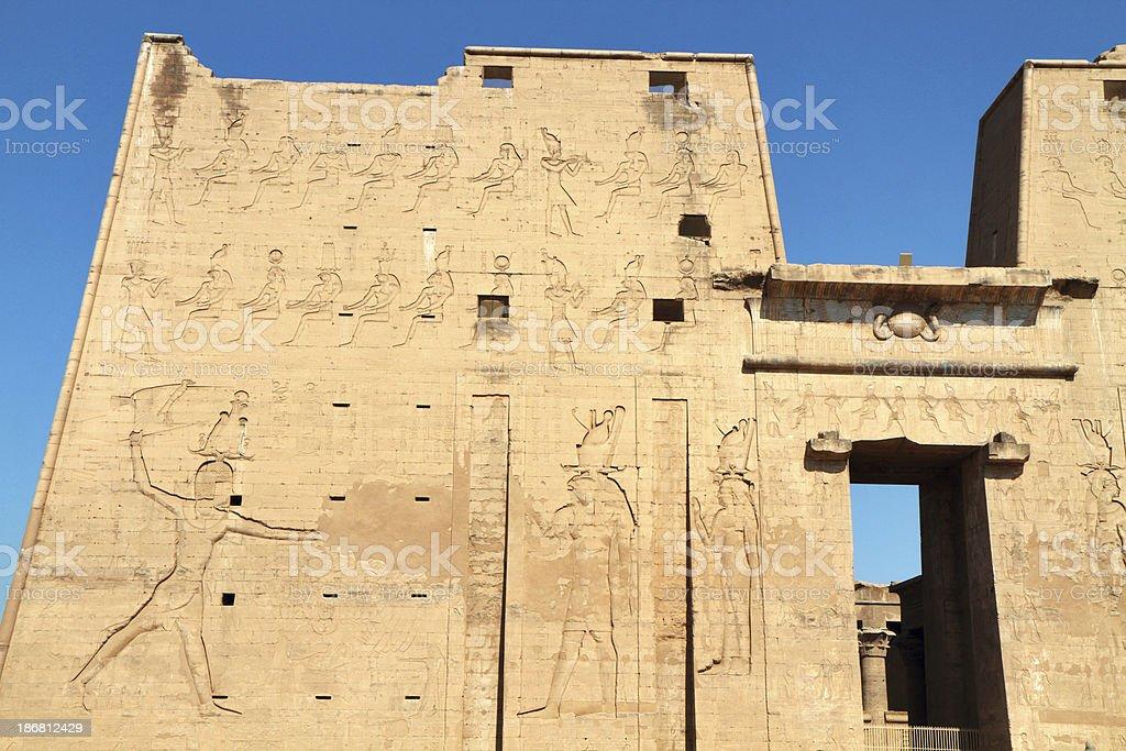 Entrance Pylon, Temple of Horus, Edfu, Egypt stock photo
