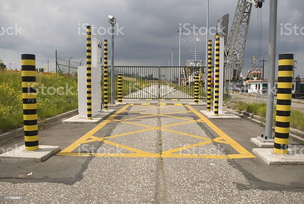 Entrance security barrier for vehicles stock photo
