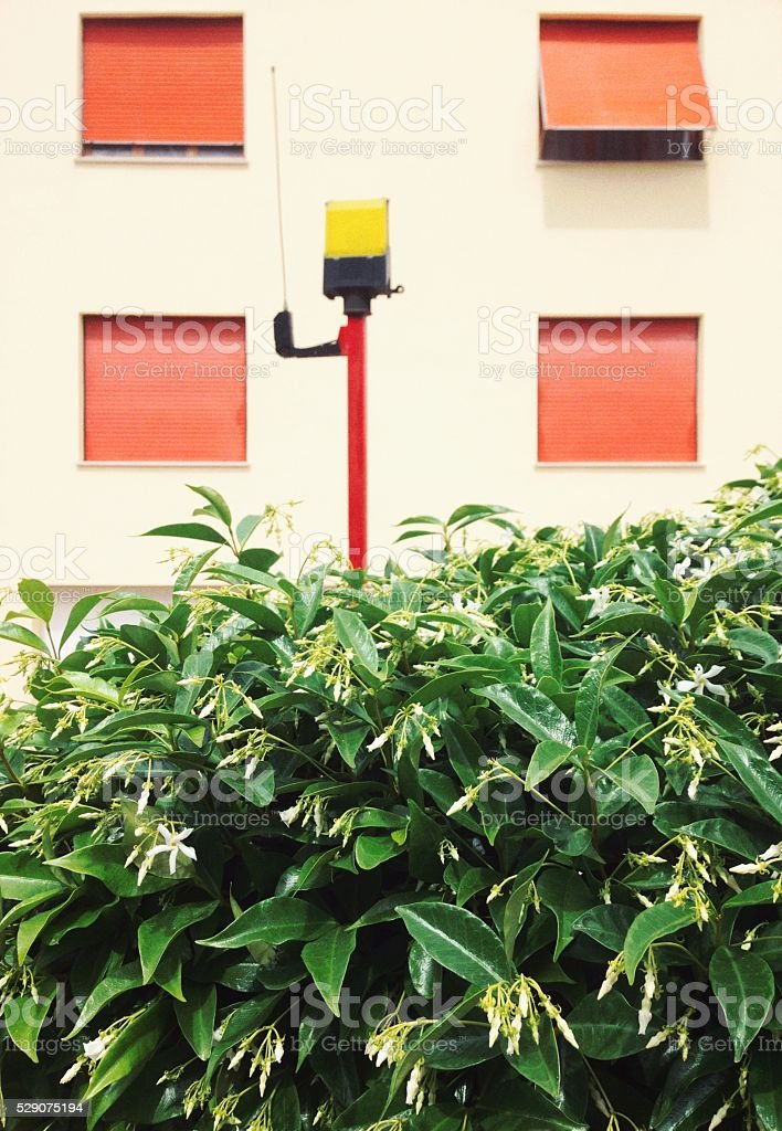 Entrance security system, residential area stock photo