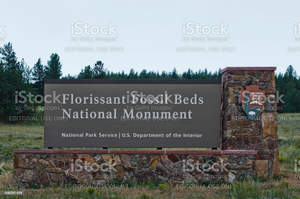 Entrance Sign at Florissant Fossil Beds National Monument stock photo