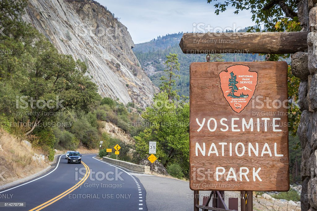 Entrance sign at Yosemite National Park stock photo