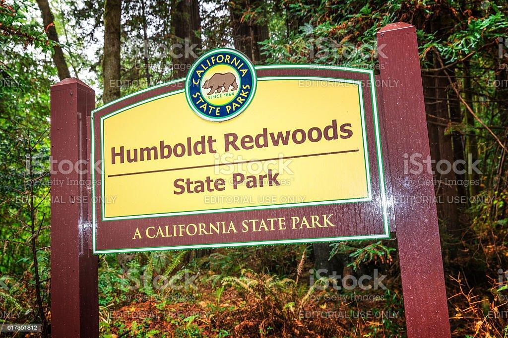 Entrance sign, Humboldt Redwoods State Park, CA stock photo