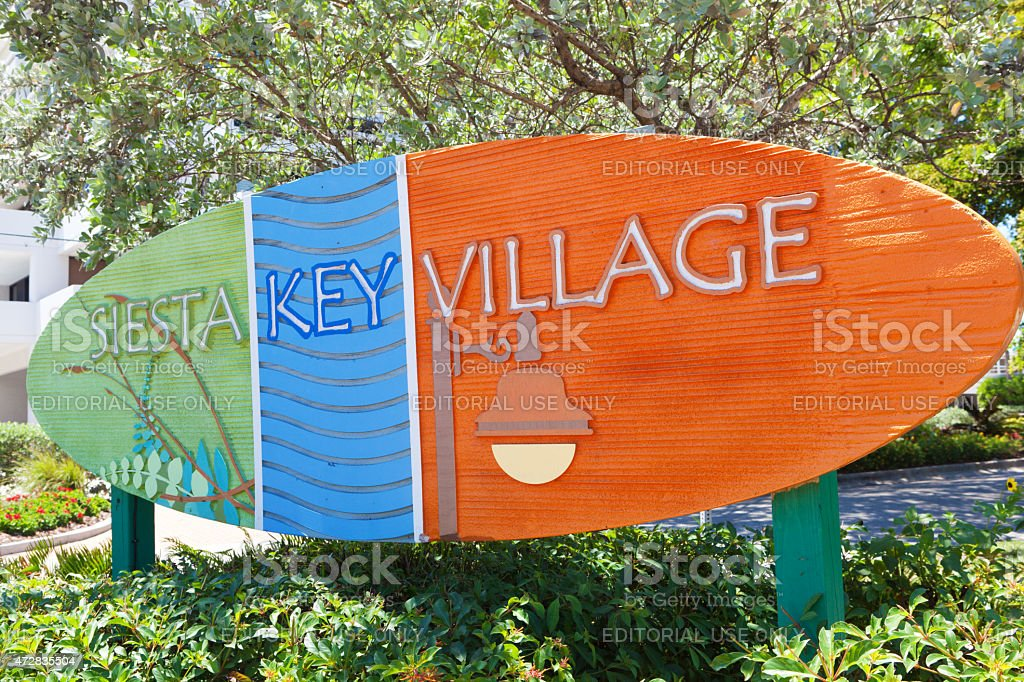 Entrance Sign of the Beach Front Town Siesta Key Florida stock photo