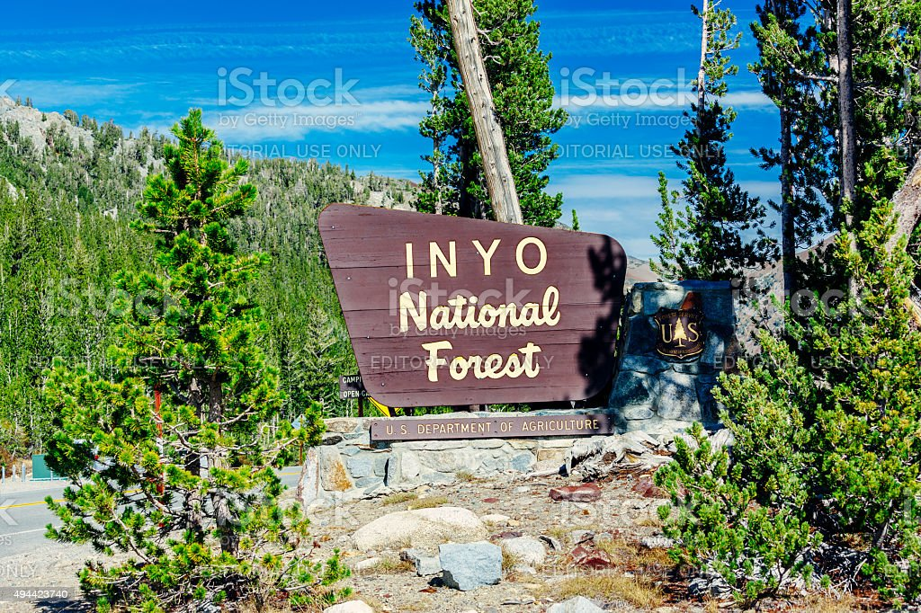 Entrance sign to Inyo National Forest, California stock photo