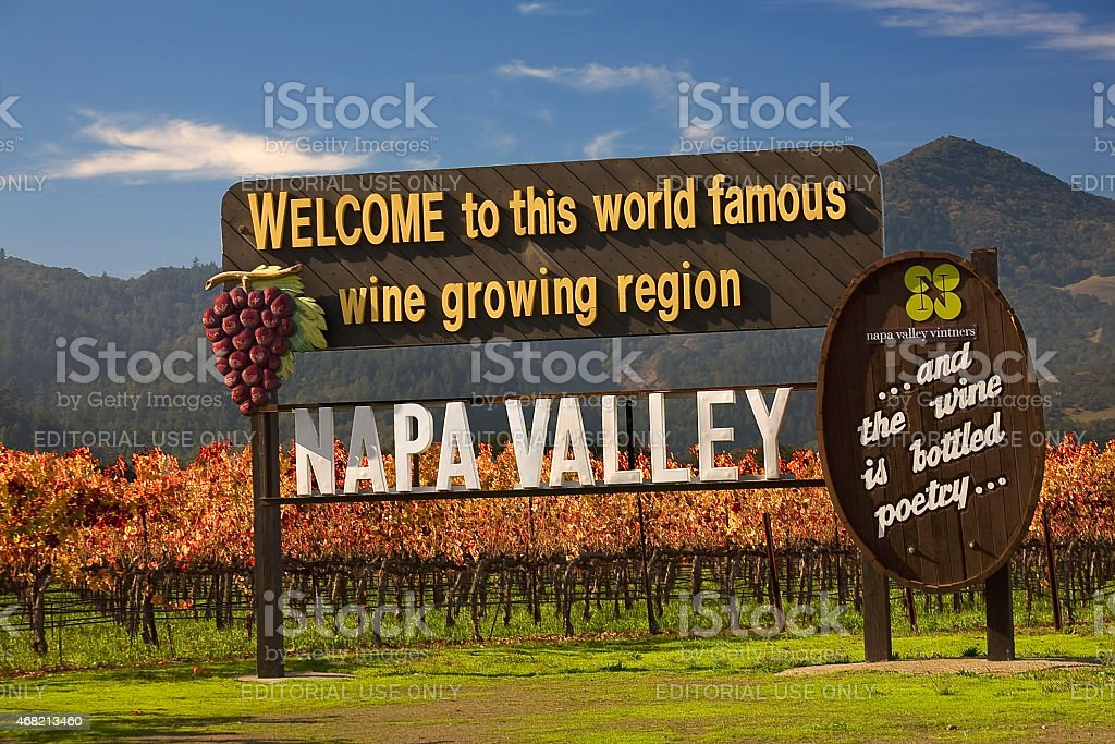 Entrance Sign Vineyards Napa California stock photo
