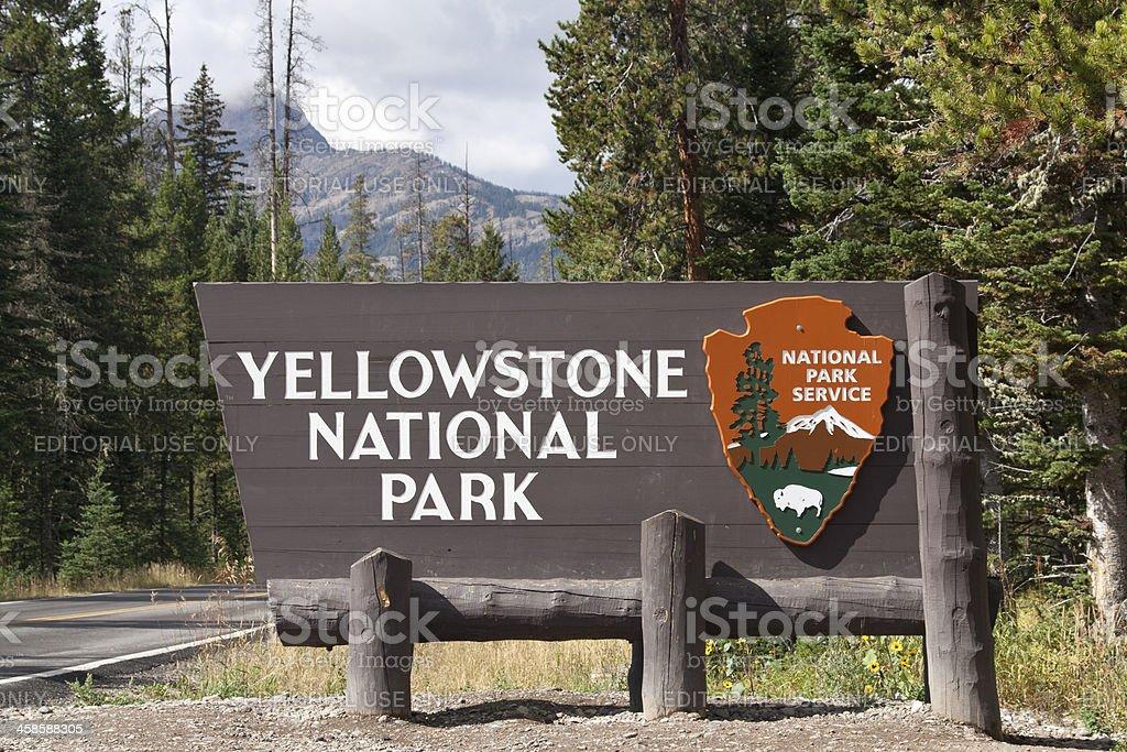 Entrance sign Yellowstone National Park stock photo