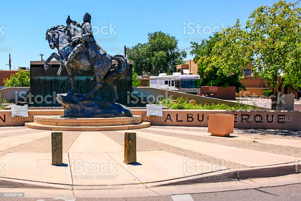 Entrance statue and wall to old Albuquerque NM stock photo